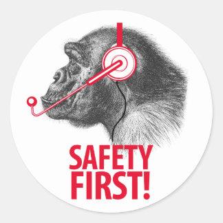 Safety First! Classic Round Sticker