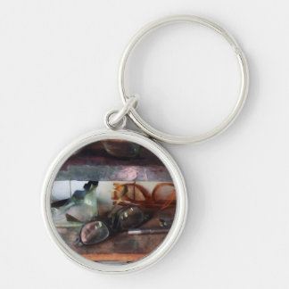Safety Glasses Silver-Colored Round Keychain
