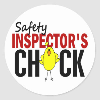 Safety Inspector's Chick Classic Round Sticker