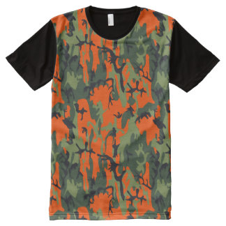 Safety Orange and Green Camo All-Over Print T-shirt