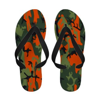 Safety Orange and Green Camo Sandals