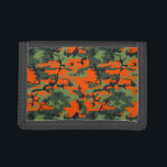 """Safety Orange and Green Camo Trifold Wallet<br><div class=""""desc"""">Cool forest green and saftey orange camouflage</div>"""