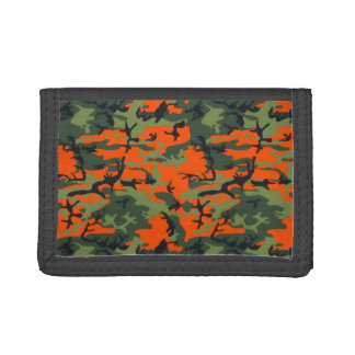 Safety Orange and Green Camo Trifold Wallet
