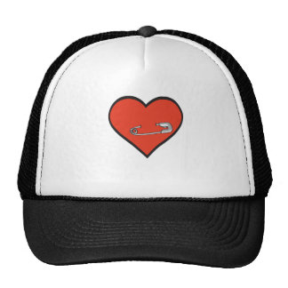 Safety pin heart hat