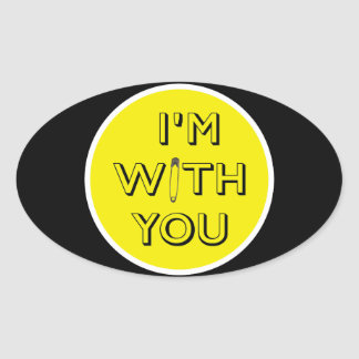 Safety Pin - I'm With You Oval Sticker