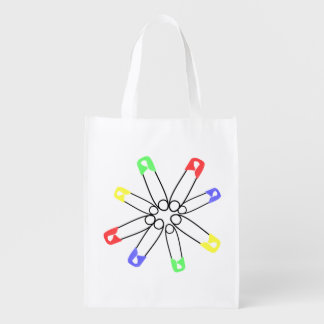 Safety Pin Red Yellow Blue Rainbow Solidarity Grocery Bag