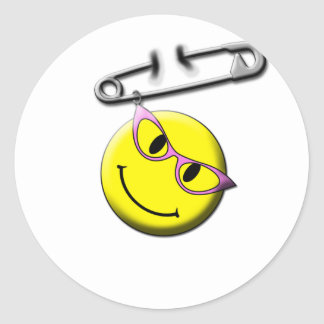 Safety Pin Smiley Face Classic Round Sticker