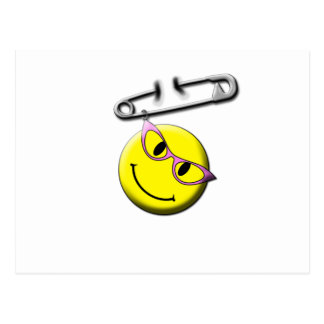 Safety Pin Smiley Face Postcard