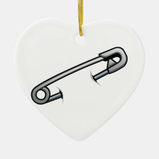 Safety pin solidarity ceramic ornament
