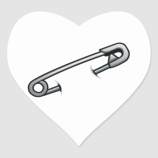 Safety pin solidarity heart sticker