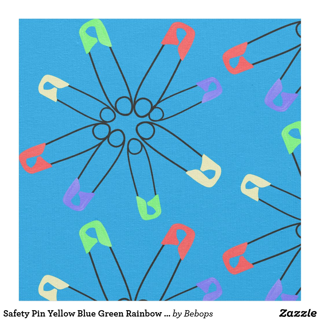 Safety Pin Yellow Blue Green Rainbow Solidarity Fabric