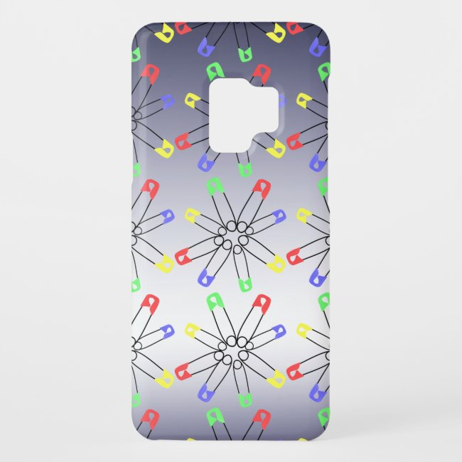 Safety Pins Red Yellow Green Blue Galaxy S9 Case