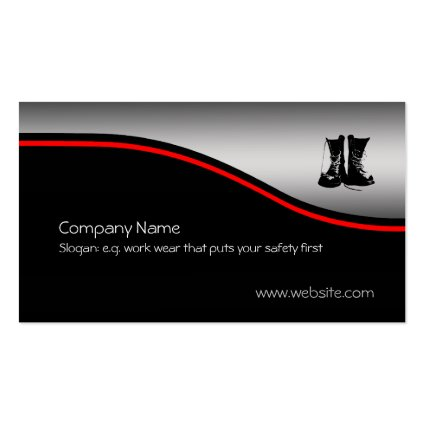 Safety Work Boots, red swoosh, metallic effect Business Card Templates