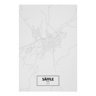 Säffle, Sweden (black on white) Poster