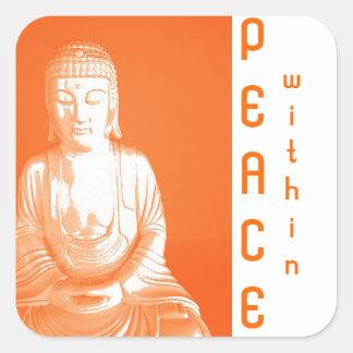 Saffron Buddha Gautama - peace within Square Sticker