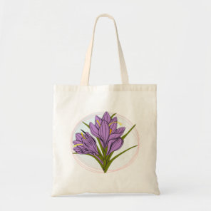 Saffron flower illustrated tote bag
