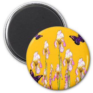 Saffron Pink Iris Black Butterflies by sharles Magnet