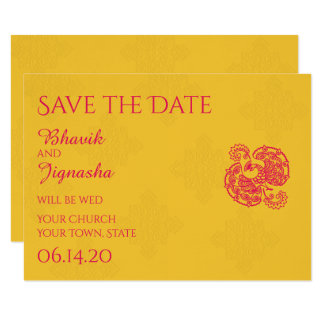 Saffron Pink Peacock Indian Wedding Save the Date Card