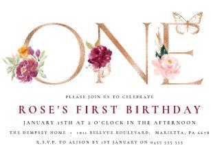 Saffron Rose Butterfly 1st Birthday Invitation