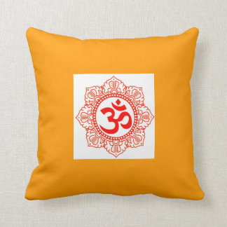 SAFFRON SQUARE PILLOW WITH RED CHAKRA OM ON WHITE
