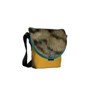 Saffron Yellow and Leopard Print Courier Bag