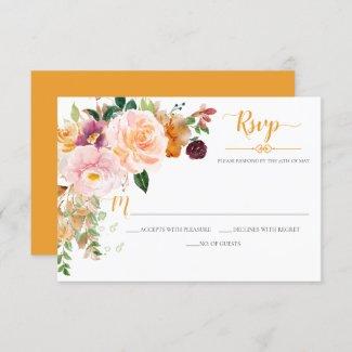 Saffron Yellow Blush Mauve Corner Bouquet RSVP Card