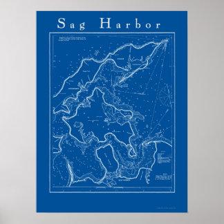 Sag Harbor, poster náutico de la carta de Nueva Yo