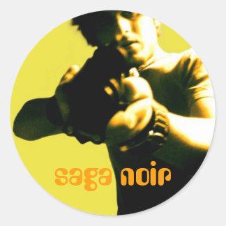 saga noir classic round sticker