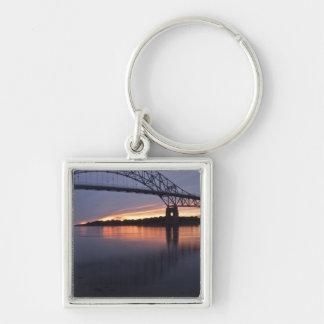 Sagamor Bridge over Cape Cod canal, 2 Silver-Colored Square Keychain