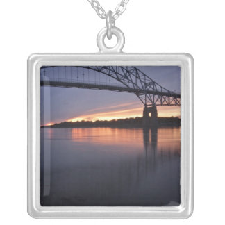 Sagamor Bridge over Cape Cod canal, 2 Square Pendant Necklace