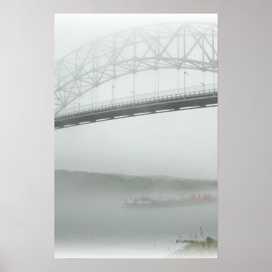 Sagamore Bridge in Fog Poster