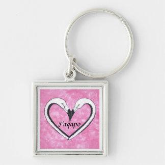 S'agapo  Flamingo kiss pink heart key chain