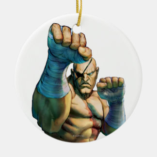 Sagat Ready to Block Double-Sided Ceramic Round Christmas Ornament