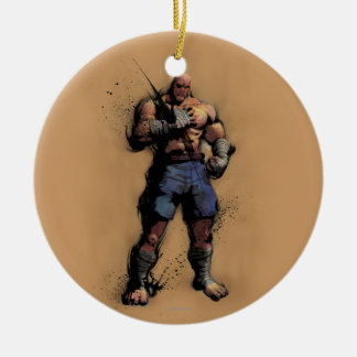 Sagat Standing Double-Sided Ceramic Round Christmas Ornament