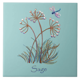 Sage and dragonfly large square tile