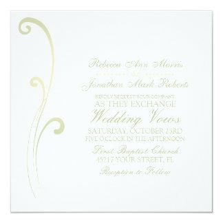 Sage and Ivory Faded Flourish Wedding Invitation