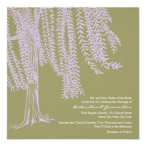 Sage and Lavender Willow Tree Wedding Invitation