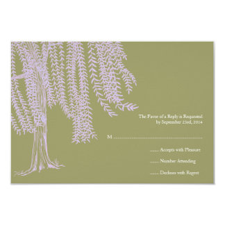 Sage and Lavender Willow Tree Wedding RSVP 3.5x5 Paper Invitation Card