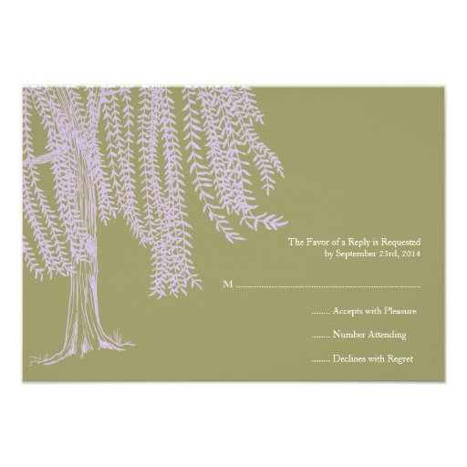 Sage and Lavender Willow Tree Wedding RSVP Personalized Announcement