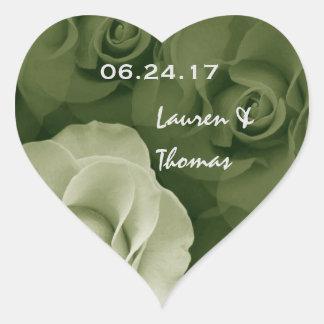 Sage and Olive Green Roses Wedding Favor V17 Heart Sticker