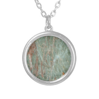 Sage and Rust Marble Silver Plated Necklace
