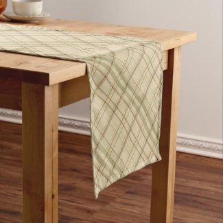 Sage and Tan Subtle Plaid Table Runner