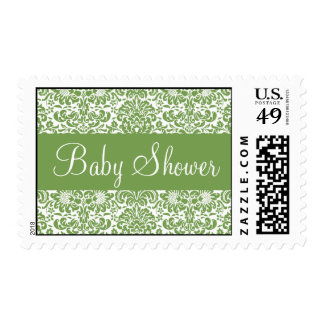 Sage and White Baby Shower Damask Postage