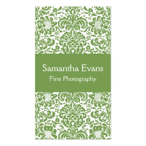 Sage and White Damask Business Card