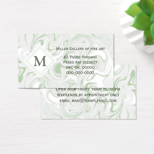 Sage and White Marble look with Diamond Monogram