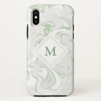Sage and White Marble look with Diamond Monogram Case-Mate iPhone Case
