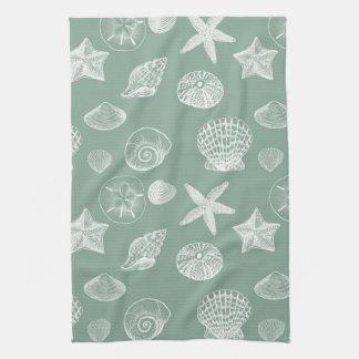 Sage and White Sea Shells Towel