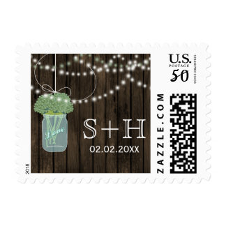 sage Barnwood mason jar personalized stamps