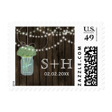 sage Barnwood mason jar personalized stamps