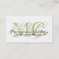 Sage Black Monogram Customizable Business Card